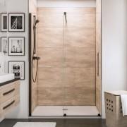 Schulte Home Porte de douche coulissante Newstyle Black, 160 cm, anticalcaire, style industriel, profilé noir