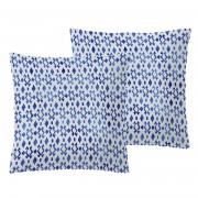 Oh & ... 2 Taies d'oreiller Bodil bleu/blanc - 65x65 cm