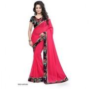 Pari Designerr Pink Chiffon Printed Saree With Blouse