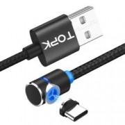 Cablu de incarcare TOPK magnetic LED 2.4A Type-C unghi 90 grade si rotatie 360 de 2m negru