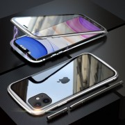 LUPHIE Magnetic Metal Frame Tempered Glass Phone Cover for Apple iPhone 11 6.1 inch - Silver