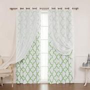 """Best Home Fashion Mix & Match Muji Sheer Linen and Room Darkening Reverse Juego de cortinas de acero inoxidable níquel con ojales en la parte superior verde 52 """"W x 96 """"L (2 cortinas y 2 cortinas transparentes)"""