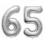 Stylewell Solid Silver Color 2 Digit Number (65) 3d Foil Balloon for Birthday Celebration Anniversary Parties