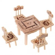 Tradico® 6Pcs Toys Wooden Table Chair Kitc Prop Kids Pretend Role Play House Toy