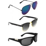 Abner Aviator, Clubmaster, Wrap-around Sunglasses(Blue, Black, Black)