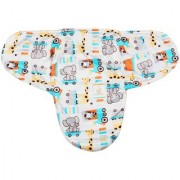 Ole Baby Elephant Kitty Girafe Print Comfortable Swaddle Blanket Adjustable Infant Wrap With Velcro Closure Soft Furry In Blue White And Orange.0-9 Months