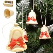 Ozdoba vianočná zvonček drevený s mašličkou bal 6ks