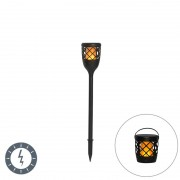 QAZQA Spike spot black with flame effect incl. LED 2W - Toci