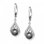 Touch of Luxury - Cercei de argint Preciosa (Negru)