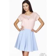 Light Blue Delicate Pleats Flared Skirt