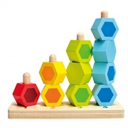 Hape Counting Stacker Toddler Wooden Stacking Block Set