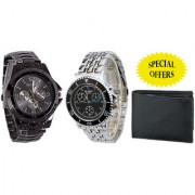 Jack Klein Combo of Round Dial Black Strap Stylish Analog Wrist Watches With Wallet