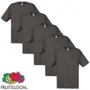 Fruit of the Loom 5 Original T-shirt algodão 100% grafite