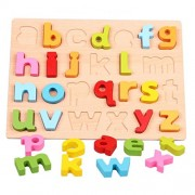 Oneyongs Wooden Alphabet Peg Puzzle Letters Numbers Puzzles Kids Early Childhood Development See-Inside Learning Pegged Board for 3 Years and up Lower Case