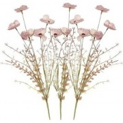 Shoppartners 3x Roze papaver/klaproos gedroogde kunstbloemen 53 cm