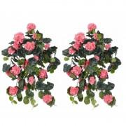 Shoppartners 2x Roze geranium hangplant kunstplanten 70 cm - Kunstplanten