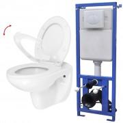 vidaXL Zidna toaletna školjka s vodokotlićem i mekim zatvaranjem keramička bijela (142609+142249)