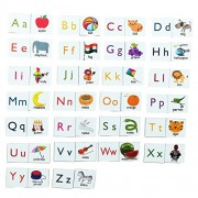 MFM Toys English Alphabets & Picture Magnetic Tiles for classroom/home | 52 Magnetic Tiles | (Does not include Magnetic Board)