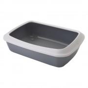 Тоалетна за котки Savic Iriz с борд - цвят: светлосив/бял