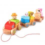 Tren din lemn cuburi geometrice si animale