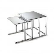 Contemporary Chic Set 2 tavolini CIMARRON con piano in vetro specchiato