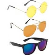 Elligator Round, Aviator, Wayfarer Sunglasses(Yellow, Orange, Yellow)