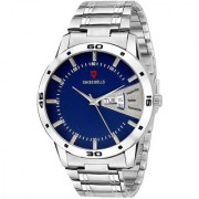 Svviss Bells Original Blue Dial Silver Steel Chain Day and Date Multifunction Chronograph Wrist Watch for Men - SB-1016
