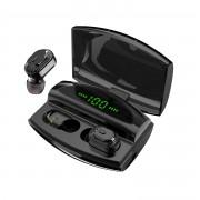 JEDX-XG20 TWS Bluetooth 5.0 Earphones LED Liquid Battery Display Wireless Binaural Sports Earbuds with Charging Box - Black