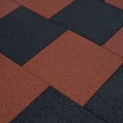 vidaXL põrandakaitsematid, 12 tk, kumm, 50 x 50 x 3 cm, punane