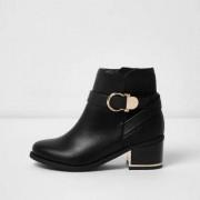 River Island Girls Black circle buckle block heel boots
