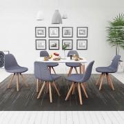 vidaXL Matbord och stolar sju delar vit ljusgrå