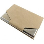 Golden Feather High Quality Card Holders   Stylish Full Black Leatherite and Leatherite piece Silver Metal Business Credit/debit/ATM/ID/Visiting card holder SUPER SLEEK, STURDY : Model CH41 : 15 Card Holder(Set of 1, Tan)