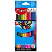 """Színes ceruza készlet, háromszögletű, MAPED """"Color`Peps"""", 12 különböző szín"""