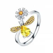 Inel argint 925 KRASSUS Spring Bee, marime universala, cu Zirconiu, model albina