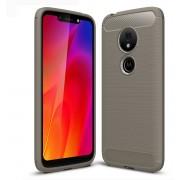 Mobigear Brushed Carbon Fiber Shockproof Hoesje Grijs Motorola Moto G7 Play
