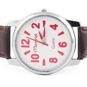 Maverick Round Dial Brown Synthetic Strap Quartz Watch For Men