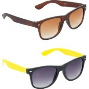 Hrinkar Wayfarer Sunglasses(Brown, Grey)