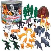 Wild Animal Safari Action Figures - Big Bucket of Jungle Safari Animals - Huge 30 Piece Set