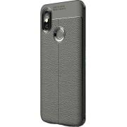 Xiaomi Mi A2 Lite Leather Textured Silicone Case Black + Nano Screen Protector