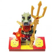 "Minifigure Packs: Lego Legends Of Chima Bundle ""(1) Crocodile Tribe General Crokenburg"" ""(1) Figure Display Base"" ""(2) Figure Accessory (Firedent Staff & Translucent Fire Crystal)"""