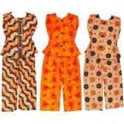 Wajbee Sightly Girls Cotton Night Suit Set of 3