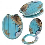 [neu.haus]® Asiento de inodoro con dispositivo automático de descenso (Motivo playa) tapa para WC - cierre suave
