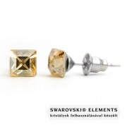 Jazzy arany színű Swarovski® kristályos fülbevaló - Négyzet Golden Shadow