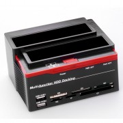 USB 2.0 to SATA IDE Dual Slots Hard Drive Dock Station with Card Reader for 2.5''/3.5'' HDD IDE SSD SATA I/II/III - US Plug