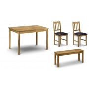 Coxmoor Oak Rectangular Dining Table - Table + 2 Chairs +Bench