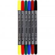 Merkloos 6x Standaard kleuren textielstiften 2-punten