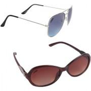 Aligatorr Combo Of 2 Cat Eye Aviator Unisex Sunglasses ldy brnslblsdCRLK