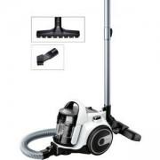 Прахосмукачка без торба Bosch, 700 W, Хигиенен филтър PureAir, Четка за паркет, Регулируема приставка за под, Бяла, BGS05A222