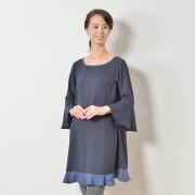MNK ツートーンラッフルワンピース【QVC】40代・50代レディースファッション