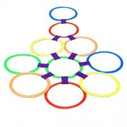Jili Online 11.6inch Diameter 10 Rings & 10 Ring Clips Interactive Family Activities Twister Hopscotch Complete with Box Party Games
